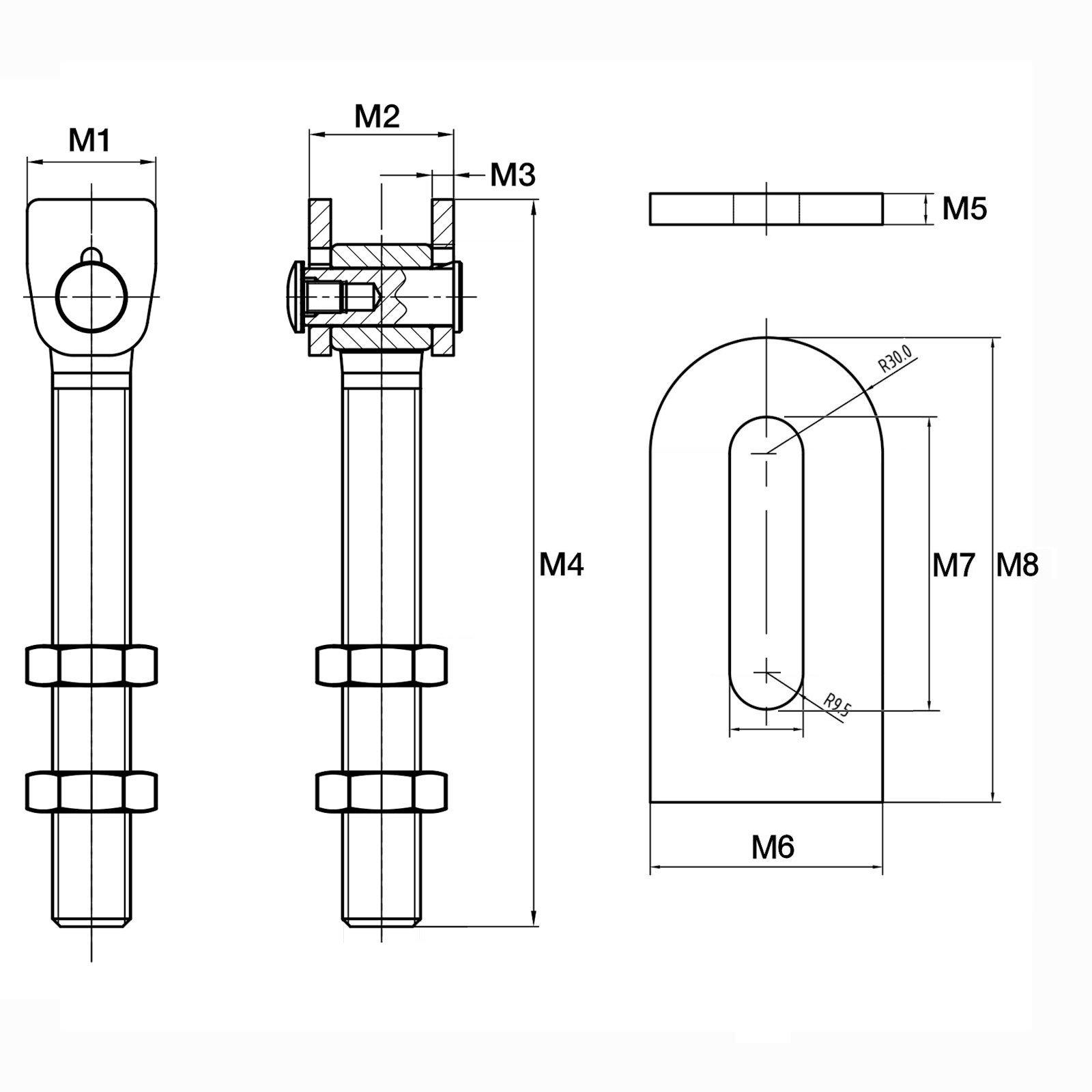 torangel verstellbar schlosskasten anschweißlasche konstruktionsband