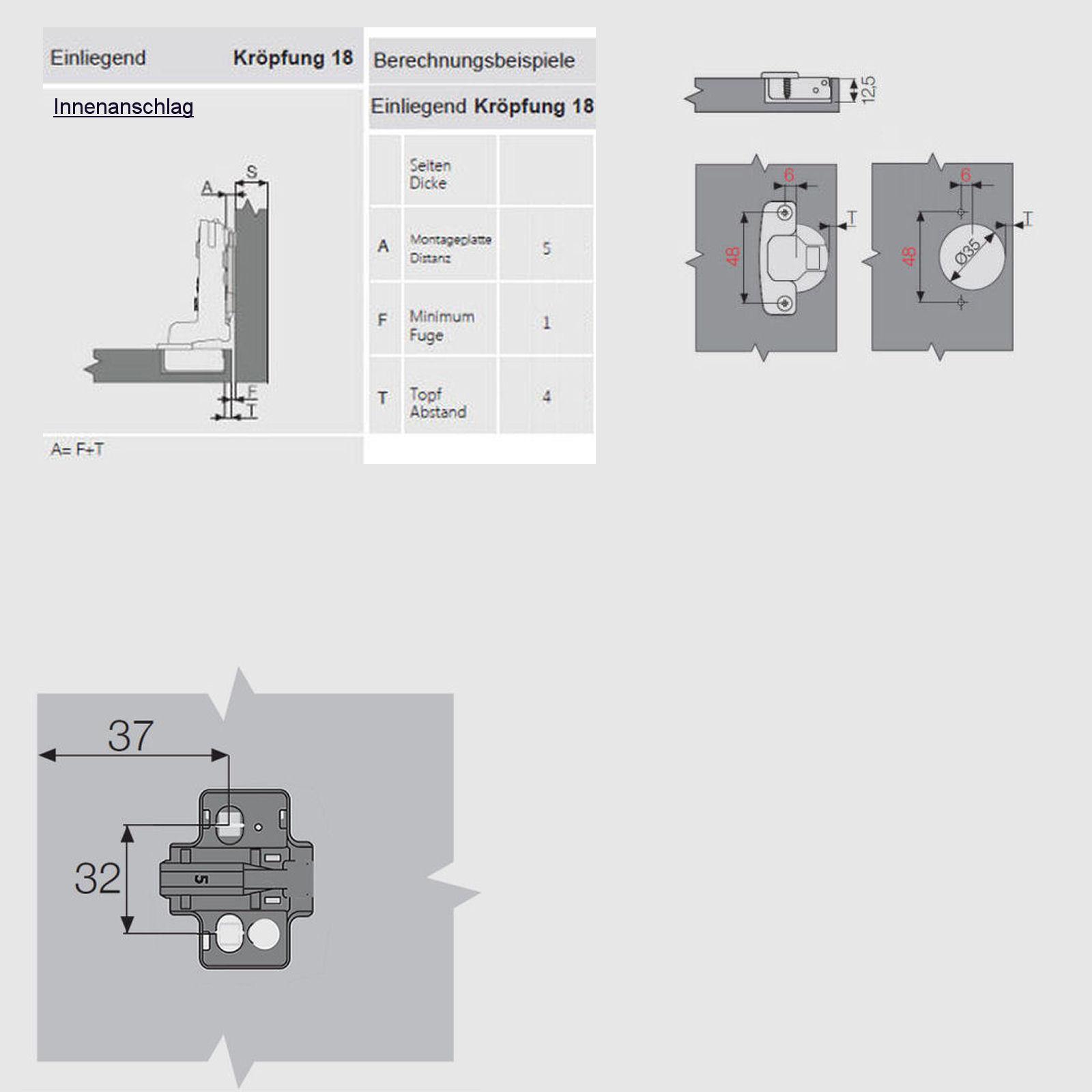 Samet Invo T48 Topfbänder 110° gedämpft + Montageplatte mit ...