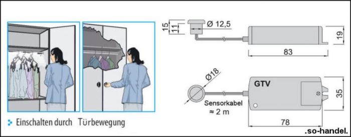 elektronischer bewegungsmelder f r m bel schaltet durch t rbewegung so. Black Bedroom Furniture Sets. Home Design Ideas